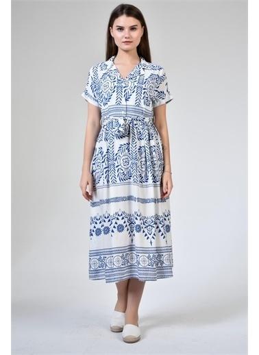 Rodi Jeans Kadın Çiçek Desenli Uzun Gömlek Yaka Elbise DS21YB112206 Mavi